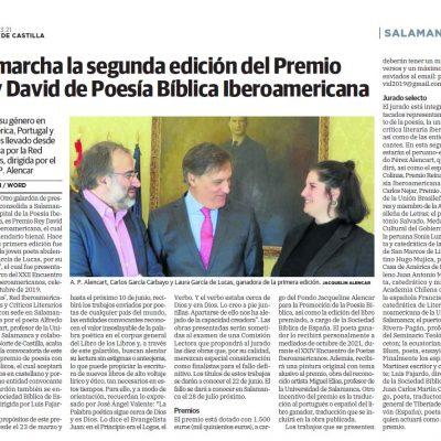 Noticia del Premio Rey David 2021 en El Norte de Castilla